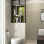 Етажерки ,оползотворяващи пространството над вградената тоалетна и служещи за преградна стена.