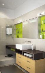 Ниши,боядисани в контрастиращ цвят.Придават дълбочина и отклоняват вниманието от малките размери на банята.