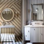 Акцентиращи тапети за баня,които отклоняват изцяло вниманието от размерите на банята