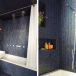 Банята изглежда значително по-голяма благодарение на облицовката от стъклена мозайка и нишите в стените, които придават дълбочина. Шик обстановка на мини спа.