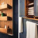 Банята с многобройните скрити в стените шкафове.