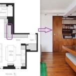 Не намерих снимка на тази секция от библиотеката в хола, затова ви я представям заедно с плана на жилището. Този шкаф е с дълбочина мин. 1,50 м и предполагам, че е снабден с релсов механизъм